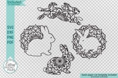 Mandala Easter bunnies cut out set svg dxf pdfcutting files Product Image 2