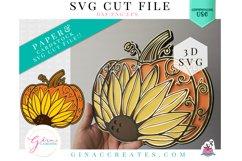 Layered Pumpkin Sunflower Mandala SVG Cut File Product Image 1
