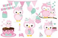 Birthday owl clipart, Birthday owl graphics Product Image 1