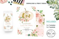 Pumpkin 1st Birthday Invitation Floral Pink and gold Girl Product Image 1