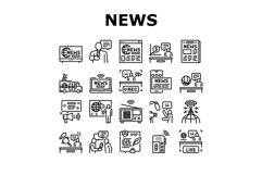 News Broadcasting Collection Icons Set Vector Product Image 1