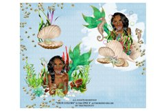 Mermaid ClipArt Afro American Mermaid Clip Art Product Image 3