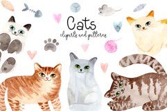 Watercolor Cute Cats. Patterns and Cliparts Product Image 1