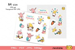 Easter Gnome Printable Stickers, Digital Printable sheet 2 Product Image 2