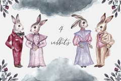 Spring Vintage Wedding Watercolor Rabbits Product Image 2