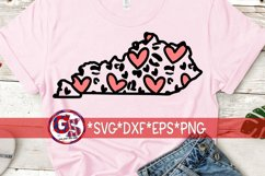 Valentine's Day   Heart Leopard Print Kentucky SVG DXF EPS Product Image 1