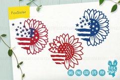 Sunflower svg, Patriotic Sunflower Svg, USA Flag Svg Product Image 1