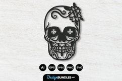 Floral Sugar Skull Papercut Product Image 1