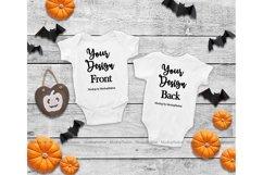 Baby Front & Back White Bodysuit Mockup, Halloween Mock Up Product Image 1
