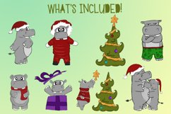 Holiday Hippos|Hippo Christmas Illustrations|PNG files Product Image 2