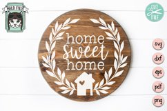 Home Sweet Home SVG File, House Wreath SVG, Welcome Sign SVG Product Image 2