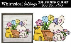 Little Spring Bunny Sublimation Clipart Product Image 1