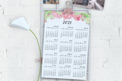 Printable Watercolor Pink Floral Calendar 2021, Peony, PDF Product Image 2