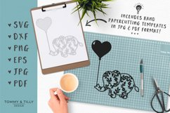 Flower Elephant with Heart Balloon - SVG DXF PNG EPS JPG PDF Product Image 4