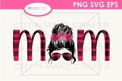 MOM Messy Bun Plaid SVG MOM SVG Messy Bun Flowers SVG Product Image 1