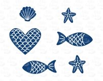 Mermaid tails, fishes, starfishes, shells silhouettes SVG DXF PNG EPS Cutting Files. Mermaid tail SVG, Mermaid Bundle SVG. Product Image 4