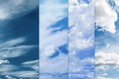 Blue Skies Clouds Digital Paper Backgrounds Textures Pattern Product Image 3