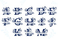 Split Monogram Alphabet with Flowers and Flourishes Product Image 2