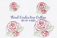 Floral Circle Rose Outline Machine Embroidery Design Product Image 1