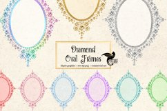 Diamond Oval Frames Clipart Product Image 2