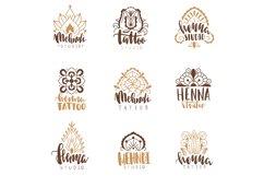 Mehndi beauty salon emblems. Mandala henna tattoo studio, in Product Image 1