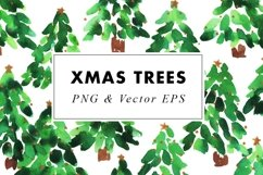 Watercolor Christmas Trees Illustrations Clip Art in EPS Product Image 1