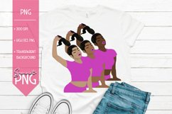 Black Woman Clipart With Ponytail Hair Pink Sublimation PNG Product Image 1
