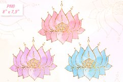 Lotus clipart Yoga meditation clip art Gold with watercolor Product Image 1