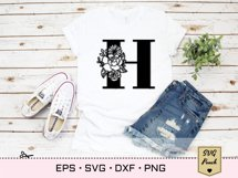 Floral letter H svg, Flower H monogram font initial SVG Product Image 2
