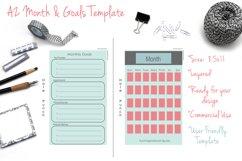 DIY A2 Month & Goals Template - PSD/TIF - Printable Product Image 1