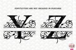Floral Split Monogram - Alphabets A to Z - EPS SVG DXF JPG Product Image 5
