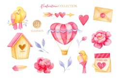 Valentine's day clipart, Bird clipart, Watercolor clipart Product Image 3