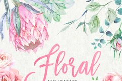 Wedding Watercolor Flowers, Protea, Ranunculus, English Rose Product Image 2