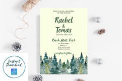 Watercolor Wooded Forest Wedding Invitation Product Image 8
