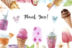 Watercolor Ice Cream and Cold Drinks. Seamless Patterns Product Image 6