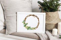 Christmas wreath, watercolor illustration, eucalyptus, roses Product Image 6