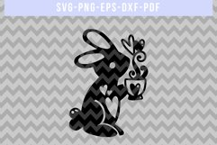 Male Bunny Papercut Template, Valentine's Day SVG, DXF, PDF Product Image 4