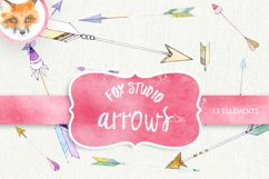 Arrow Clipart. Painted Watercolor Clipart. Hearts and Arrows Product Image 1