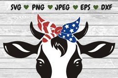 Heifer SVG, cow svg, farm svg, dairy cow svg, banana cow, 4th of july bandana, 4th of july cow face, animal faces svg, independence day cow Product Image 4