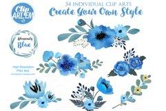 Blue Floral Clip Art, Wedding Watercolor clip art 34 PNG Product Image 2