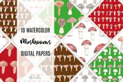 Mushrooms Seamless Patterns Digital Paper Watercolor Fungi Product Image 1
