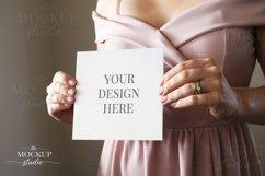 Woman Holding Card Mockup, Invitation Mockup, PinkDress Product Image 1
