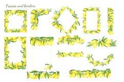 Watercolor Lemon Clipart, Lemon Frame, Lemon Wreath, Summer Product Image 3