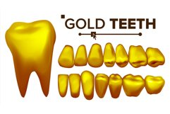 Golden Tooth Vector. Metal Gold Human Teeth. Isolated Product Image 1