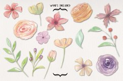 15 Floral Jenna Watercolors Flowers Painted Pink Elements Product Image 3