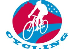 Cyclist riding racing bike Product Image 1