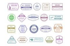 Vintage passport stamp. Airport cachet mark, passport visa Product Image 1