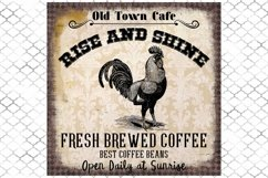 Vintage Coffee Cafe Sign, Rooster, Art Print Sublimation PNG Product Image 1
