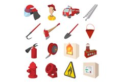 Firefighter cartoon icons set Product Image 1