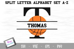 Split Letters A-Z - 26 Split Monogram basketball SVG files Product Image 1